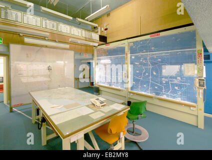 York Cold War bunker. View of the Operations Room showing maps and charts ready for use. 1961. York, Yorkshire, - Stock Photo