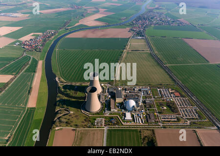 Aerial view, Grohnde nuclear power plant on the Weser River, Grohnde, Emmerthal, Lower Saxony, Germany - Stock Photo
