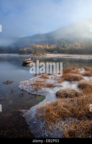 Frosty winter morning on the shore of Upper Lake, Killarney National Park, County Kerry, Ireland. - Stock Photo