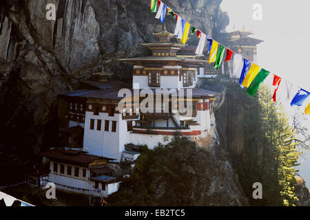 Monastery and temple of Taktshang-Lhakang, also called the 'Tiger's Lair', Paro valley, Paro district, Bhutan - Stock Photo
