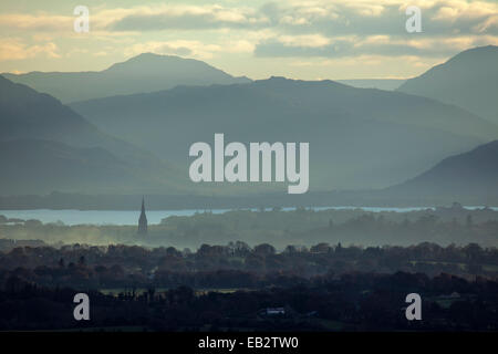 Morning mist over Killarney and the Magillycuddys Reeks, County Kerry, Ireland. - Stock Photo