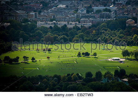 An aerial view of Regents Park in north London - Stock Photo