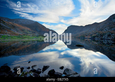 The Macgillycuddys Reeks mountains reflected in Black Lake, Gap of Dunloe, County Kerry, Ireland. - Stock Photo