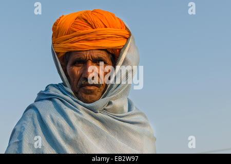 Portrait of a pilgrim during Kumbh Mela, Allahabad, Uttar Pradesh, India - Stock Photo