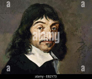 Rene Descartes (1596-1650). French philosopher, mathematician and writer. Portrait. - Stock Photo