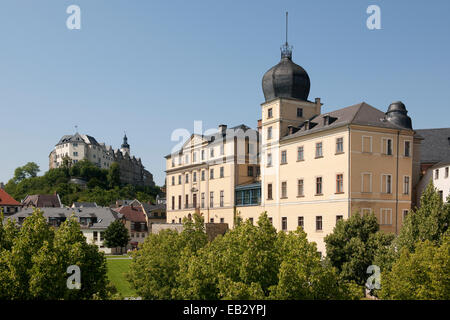 Oberes Schloss, Upper Castle, and the 'Unteres Schloss', Lower castle, Greiz, Thuringia, Germany - Stock Photo