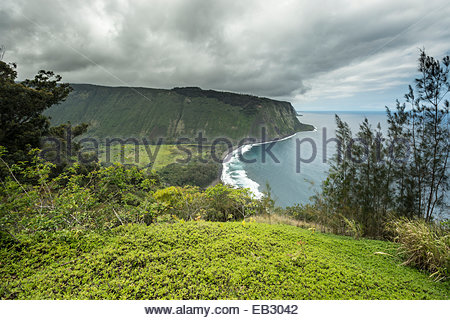 Known as valley of the kings, Waipio is located on the Big Island of Hawaii is one of Hawaii's last undeveloped - Stock Photo