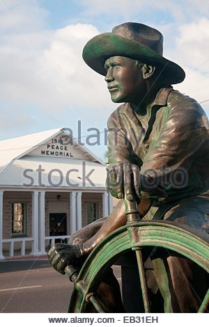 Part of the Cayman Islands Seaman's Memorial Statue located on Harbour Drive in George Town. - Stock Photo