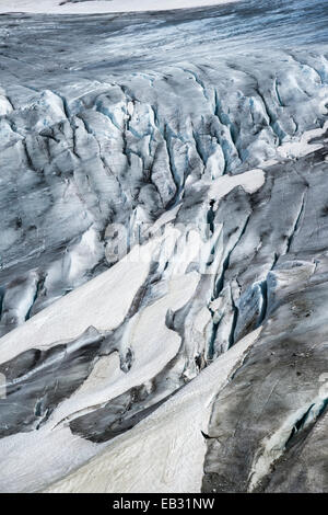 Melting Rhone Glacier, Furka Pass, Oberwald, Canton of Valais, Switzerland - Stock Photo