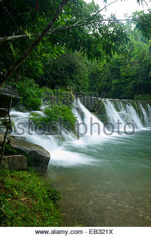 San Antonio falls in the foothills of the Maya Mountains. - Stock Photo