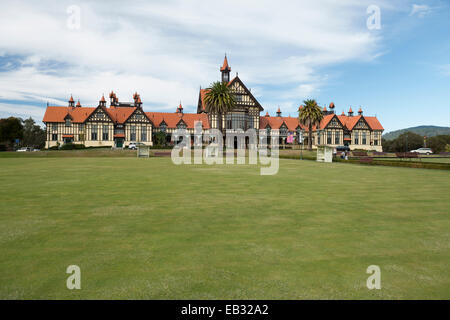 Bath house in the Goverment Gardens, Museum of Art and History, Rotorua, North Island, New Zealand - Stock Photo