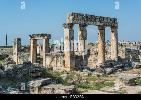 Buildings in Hierapolis, ancient Greek city, UNESCO World Heritage site, near Pamukkale, Phrygia, Denizli Province, - Stock Photo