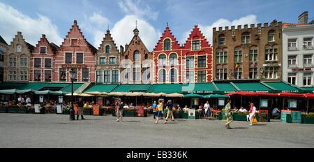 Street restaurants, sidewalk cafés, guild houses, Grote Markt, market square, historic centre, UNESCO World Heritage - Stock Photo