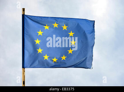 European flag, Bruges, Flemish Region, Belgium - Stock Photo