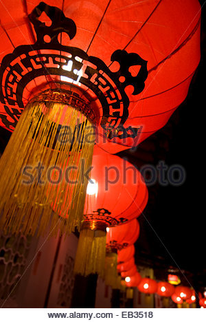 The Dr. Sun Yat-Sen Classical Chinese Garden decorated for Chinese Lunar New Year celebrations. - Stock Photo