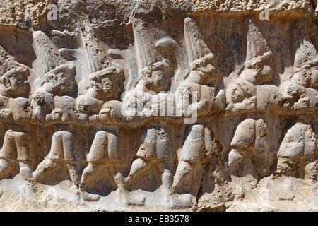 Relief of twelve gods, Yazılıkaya, historic sanctuary of the Hittites, Boğazkale, Çorum province, Black Sea region, - Stock Photo