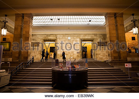The main entry area of the Palace of Culture and Science in Warsaw, Poland.  The building was constructed between - Stock Photo