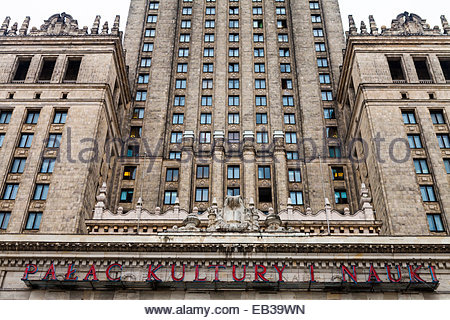 The facade of the Palace of Culture and Science in Warsaw, Poland.  The building was constructed between 1952 and - Stock Photo