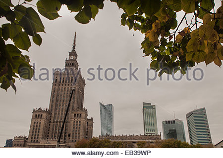 The Palace of Culture and Science and new construction since the fall of the Communist government. The museum was - Stock Photo
