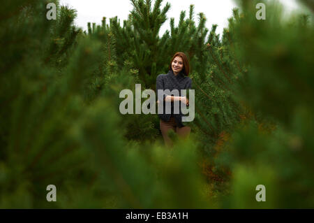 Portrait of young woman standing amongst young pine trees - Stock Photo
