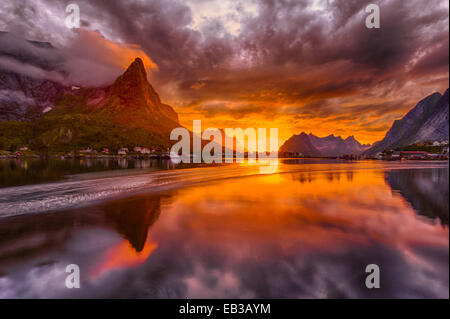 Norway, Lofoten, Reine, Landscape in midnight sun - Stock Photo