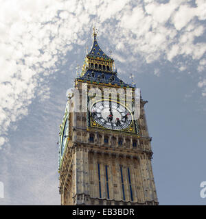 Big Ben being cleaned, London, England, UK - Stock Photo
