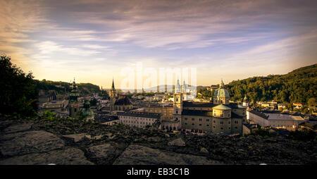 Old town at sunset, Salzburg, Austria - Stock Photo