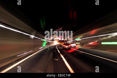 Austria, Salzburg, Driving in tunnel, feeling of speed - Stock Photo