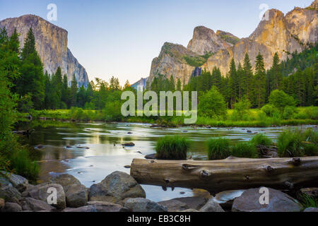 USA, California, Valley view at Yosemite National Park with El Capitan and Bridalveil Falls behind Merced River - Stock Photo