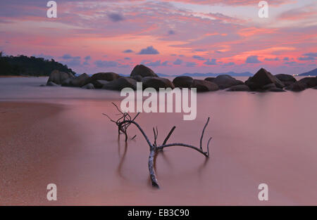 Indonesia, Singkawang, Kura Kura beach at sunset - Stock Photo