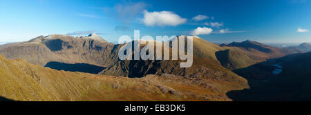 View of Carrauntoohil and the Macgillycuddy's Reeks from Stumpa Duloigh. Black Valley, County Kerry, Ireland. - Stock Photo