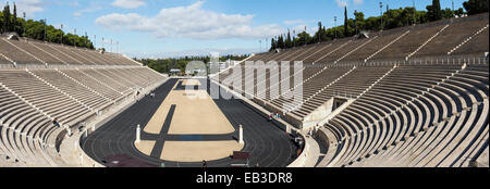 The Panathenaic Stadium or Kallimármaro  'beautifully marbled) in Athens, was the site of the first modern Olympic - Stock Photo