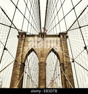 USA, New York State, New York City, View of Brooklyn Bridge - Stock Photo