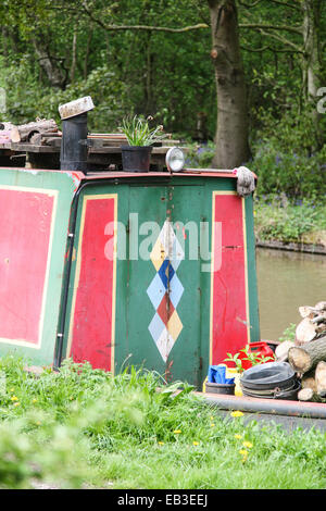 colourful barge on English canal - Stock Photo