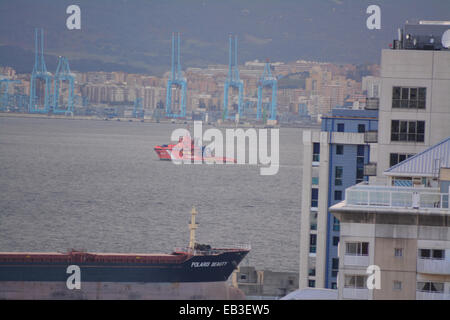 Gibraltar. 25th November, 2014. Spanish state Search and Rescue pollution control vessel Luz del Mar was observed - Stock Photo