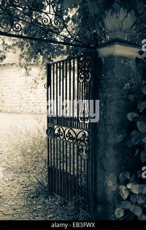 Wrought-iron gates - Stock Photo