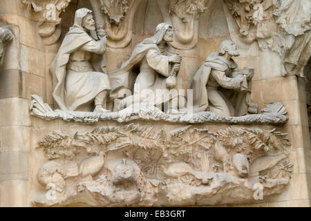 Nativity facade detail on the Sagrada Familia (Sacred Family) designed by Antonio Gaudi  showing the Three Wise - Stock Photo