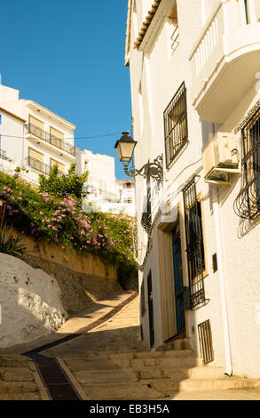 Street in old town Altea, Costa Blanca, Spain - Stock Photo