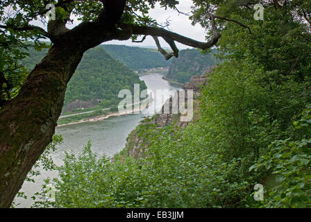 View over River Rhine from near Loreley Rock looking towards St Goar in the Rhine Valley near St Goar, Germany - Stock Photo