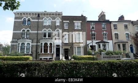 Row of terraced housing on Page Green Terrace in Seven Sisters North London N15 UK  KATHY DEWITT - Stock Photo