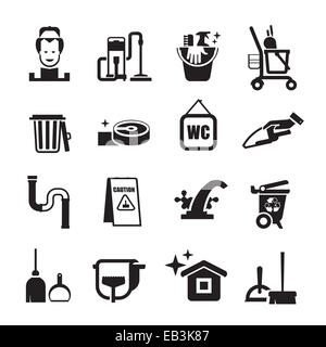 cleaning icons set. Set of icons on a white background - Stock Photo