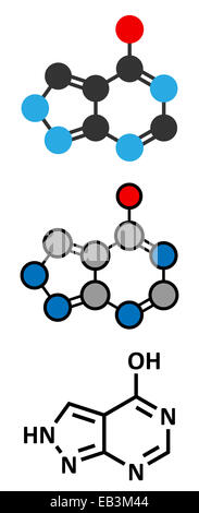 Allopurinol gout drug molecule. Conventional skeletal formula and stylized representations. - Stock Photo