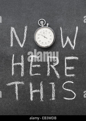 now here this concept handwritten on chalkboard with vintage precise stopwatch used instead of O - Stock Photo