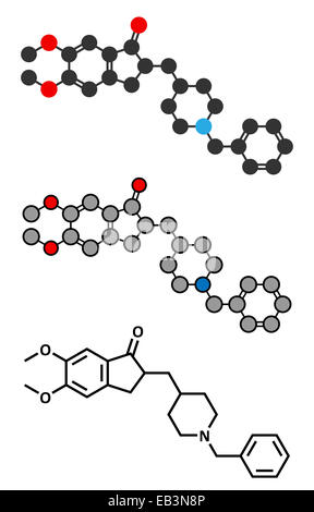 Donepezil Alzheimer's disease drug molecule. Conventional skeletal formula and stylized representations. - Stock Photo