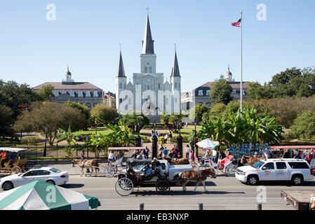 St Louis Cathedral Jackson Square New Orleans USA - Stock Photo