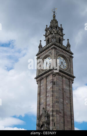 Albert Memorial Clock in Belfast Northern Ireland - Stock Photo