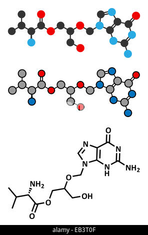 Valganciclovir cytomegalovirus (CMV, HCMV) drug molecule. Conventional skeletal formula and stylized representations. - Stock Photo