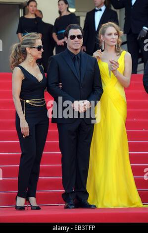The 67th Annual Cannes Film Festival - 'Clouds Of Sils Maria' - Premiere  Featuring: Uma Thurman,John Travolta,Kelly - Stock Photo
