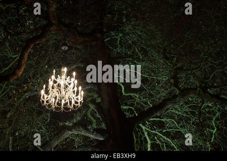 London, UK. 25 November 2014. A chandelier hangs in a tree. Press preview of the seasonal illuminations lighting - Stock Photo