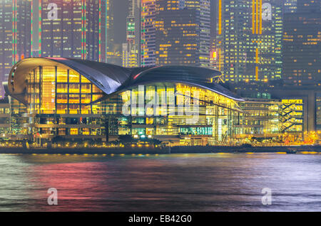 Hong Kong Convention and Exhibition Centre in night - Stock Photo